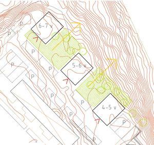 De nya punkthusen föreslås få olika höjder. Parkering väntas få plats inom området.Skiss: Telge bostäder