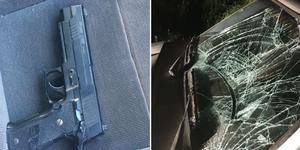 Vindrutan krossades på Hebybons bil vid skadegörelsen. Den åtalades pistol, som visade sig vara en soft airgun, fann polisen senare på ett säte i den misstänktes bil vid en husrannsakan. Foto: Polisen