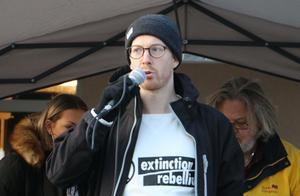 Jonas Olsson från Extinction rebellion.