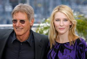 "Den amerikanske skådespelaren Harrison Ford och hans australiensiske kollega Cate Blanchett i samband med filmen ""Indiana Jones and the Kingdom of the Crystal Skull"". Foto: Evan Agostini/TT"
