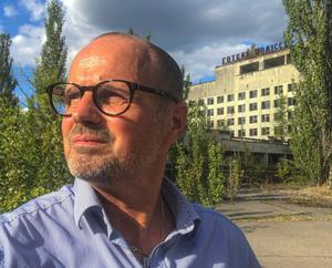 Peter Nässén i spökstaden Pripjat. När staden utrymdes fick invånarna först höra att det handlade om några dagar.