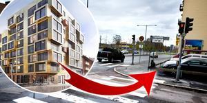 Asplunds Fastigheters nya studentlägenheter på Skolgatan/Södra Grevrosengatan. Det ska vara inflyttningsklart november 2020.  Bild: White Arkitekter/NA