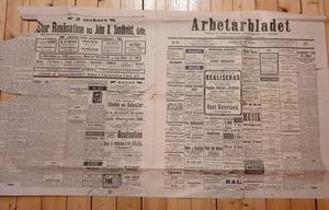 Ett uppslag av Arbetarbladet från 26:e februari 1913. FOTO: Ingela Östberg