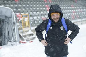 När Giffarna kom upp till Umeå för mötet med Vasa möttes Henrik Åhnstrand och spelarna av en rejäl snöstorm.