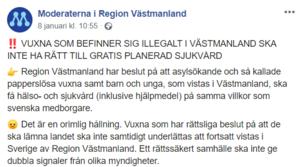 Förslaget är i sig rimligt. Men med den populistiska retoriken försöker Moderaterna flirta med förlorade väljare som gått över till Sverigedemokraterna. Foto: Bild från Moderaterna i Region Västmanlands Facebooksida.