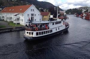 Høvding har fått en ny tillvaro i Norge - som restaurangbåten M/S Høvding Flekkefjord på Norges södra kust. Bild: Privat