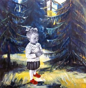 Anna-Carin Landelius visar måleri i Tallbos största utställningsrum.