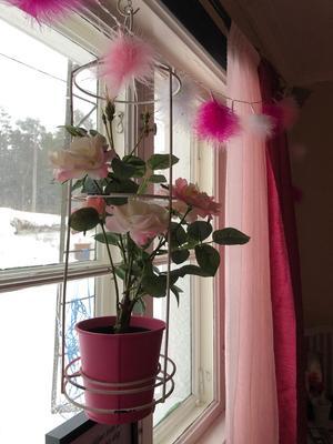 Fortfarande finns rosa inredningsdetaljer kvar i hemmet i Galtström.