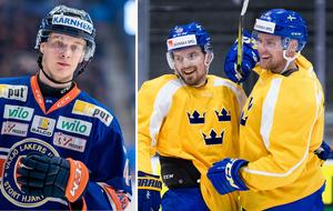 Elias Pettersson (till vänster) fick inte en plats i Rikard Grönborgs OS-trupp. Men är han med på bruttolistan, och Tre Kronor får en skada innan 13 februari, kan han kallas in. Enligt Sportbladet är Pettersson med på bruttolistan. Foto: Simon Hastegård / Bildbyrån.