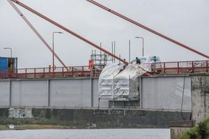 Underhållsarbete pågår på Strömsundsbron.