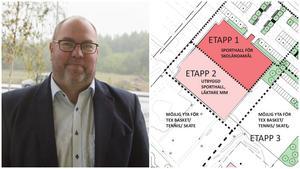 Bengt Andersson och hans kollegor vill gå in för att bygga inte bara en hall utan två, alltså förverkliga etapp ett och två på samma gång. Illustration: Wi landskap