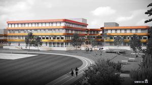 Så här är det tänkt att den nya Lindbackaskolan ska se ut när den står klar. Skolan ska ha plats för 600 högstadieelever. (Skiss från Sweco)