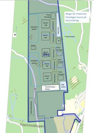 Googles karta över ett eventuellt datacenter, vilken lämnats till mark- och miljödomstolen i Nacka.