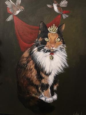 23) Här är ett porträtt av min mammas katt Hjördis som min brors sambo målat och lyckats fånga på pricken. Foto: Maria Lindskog