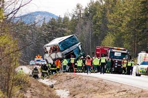 Bussolyckan i Härjedalen, utanför Sveg 7 februari 2017.Foto: Mikael Andersson