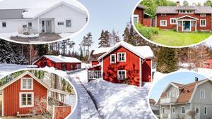 Ett montage med bilder på fem av husen som var mest klickade i Dalarna på Hemnet under förra veckan. Bilderna kan även ses längre ner i artikeln.