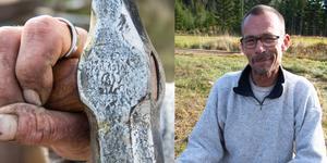 Mikael Ahlqvist, verktygsrenoverare, med ett slägghuvud som är tillverkat i Fagersta.