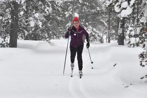 Sonja Dahlström i ett pass hemma i Idre.