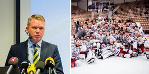 Anders Larsson och Oskarshamns firande efter att de tagit sig upp till SHL i våras. Foto: Dennis Ylikangas/BILDBYRÅN och Pär Olert/BILDBYRÅN