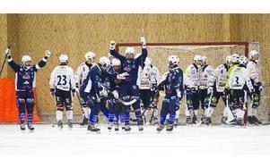 Här jublar Borlänge efter att Johan Eltin reducerat till 6–5. Borlänge vann till slut med 7–6. Foto: Mikael Forslund