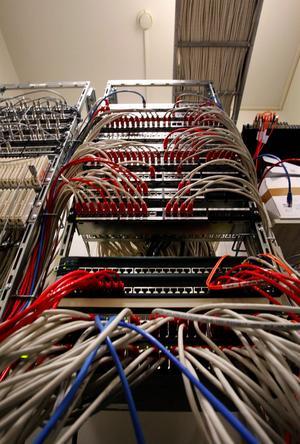 Kabelkraft i Kiruna. Genom dataingångarna kommer informationen från samtliga hastighetskameror i landet.