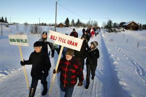 Protester mot planer på uranbrytning i Fåker.