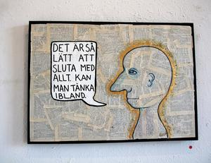Alice Nilsson säger att utställningen till stor del av består av figurer som tänker, tycker och säger olika saker.