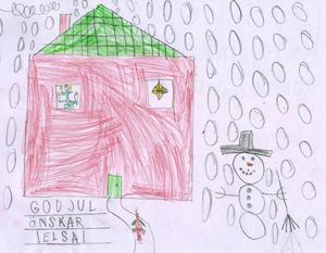 snöfall. Snön faller tungt utanför fönstret och gör snögubben lycklig, ritad Elsa Pettersson,  6 år, Gävle.