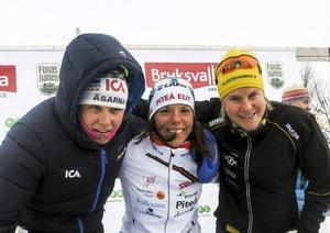 Ida Ingemarsdotter, Charlotte Kalla och Hanna Falk var dagens vassaste sprinters i Bruksvallarna.