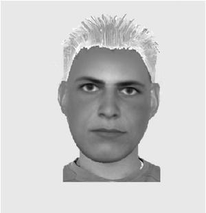 Här är fantombilden som polisen släppt på den misstänkta dubbelmördaren i Linköping.Illustration: Polisen