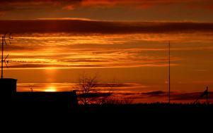 Solnedgång i Norberg sedd från mitt badrumsfönster