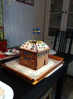 Min och min 12-åriga sons pepparkakshus i form av Västerås slott.