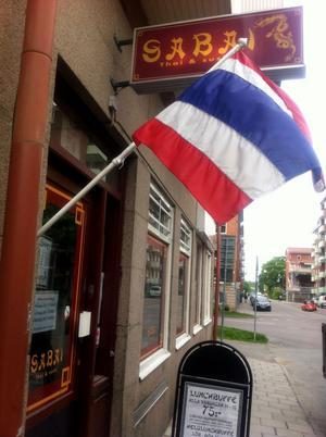 Restaurang Sabai. Inbrottet avbröts av restaurangchefen, som satt på vakt i lokalerna.
