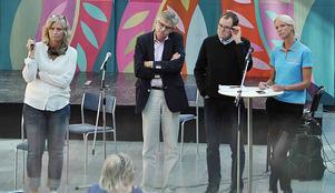 Med Viktoria Winberg som moderator fick länets riksdagsledamöter Per Åsling, Gunnar Sandberg och Saila Quicklund svara på frågor från deltagare på PRO Leva Livets möte.   Foto: Arne Lindström