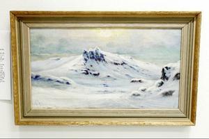 Fjällmotivet från Sylarna av Sven Linnborg ingår i utställningen av äldre jämtlandskonst på galleri Remi.