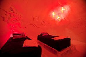 Kinesiska rummet på snöhotellet i Kirkenes.
