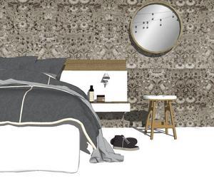 Att tapetsera i ritprogram är både enkelt och roligt. Här ett sovrum som inredaren Åsa Gramén jobbar med åt en kund.