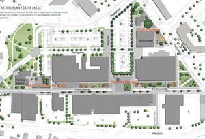 I den första etappen ingår träd, sittplatser och lekplatser. Längre fram räknar man med att det ska byggas bostäder mitt emot vårdcentralen och att parkeringen vid Ica ersätts med ett p-hus. Illustration Sweco.