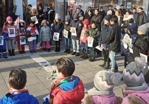 En stor grupp människor samlades utanför Avesta galleria för att uppmärksamma sina utsatta släktingar i den syriska staden AfrinFoto: Privat
