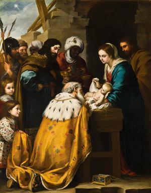 De tre vise männen lämnar sina gåvor till Jesusbarnet. Målning av Bartolomé Esteban Murillo från 1660.