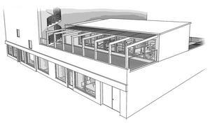 Café Engels klassiska terrass kommer att byggas om innan de två nya hyresgästerna flyttar in här. Skiss: Arkitektgruppen GKAK.