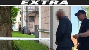 Den nu häktade mannen leds in till förhandlingen i Hudiksvalls tingsrätt.