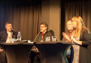 Kerstin Bergman från Svenska Deckarakademien lotsade också dessa fem författare genom samtalet.
