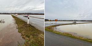 Väg 733 omges av stora mängder vatten, vilket är markägarens ansvar att ta hand om. Trafikverkets ansvarsområde är att hålla vägbanan körbar.
