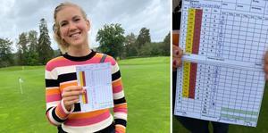 Jätteglad var förstås den 24-åriga golftjejen Elin Odh sedan hon gått runt på 64 slag på Falköpings GK:s niohålsbana den gångna helgen – nytt banrekord.