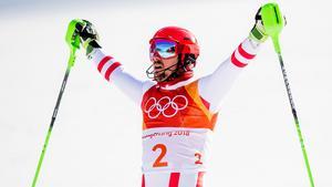 Marcel Hirscher vann sitt andra OS-guld i Sydkorea. Bild: Jon Olav Nesvold/Bildbyrån.