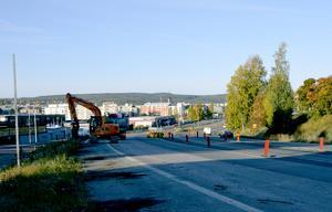Den norra motorvägsfilen kommer att användas som omledningsväg i början av bygget.