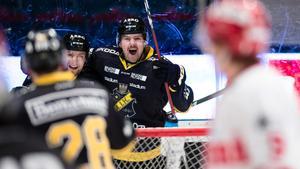 David Berg efter 2–0 till AIK mot Timrå i toppmötet. Bild: Andreas Sandström/Bildbyrån