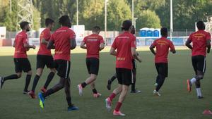 Under Sossehs första träning i det nya laget, Syrianska FC.