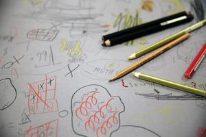 Detalj ur den stora gemensamma teckningen i Orsa kulturhus.